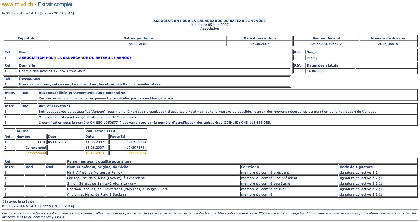 Registre Du Commerce Vd Le Venoge